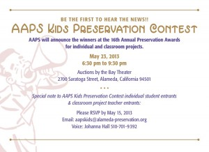 AAPS Kids Contest at Preservation Awards